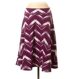 Purple and White Stretch Midi Skirt with Pockets